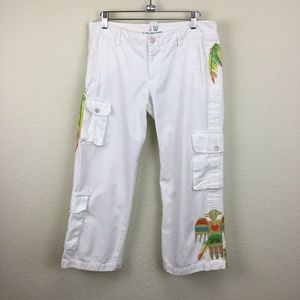 Johnny Was White Embroidered Crop Pants Medium